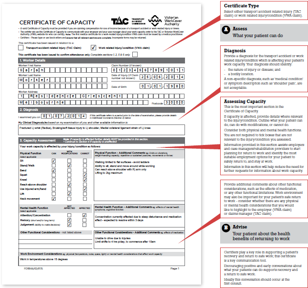 Certificate of Capacity completing instructions diagram 1