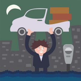 Cartoon man lifting his car in a flood