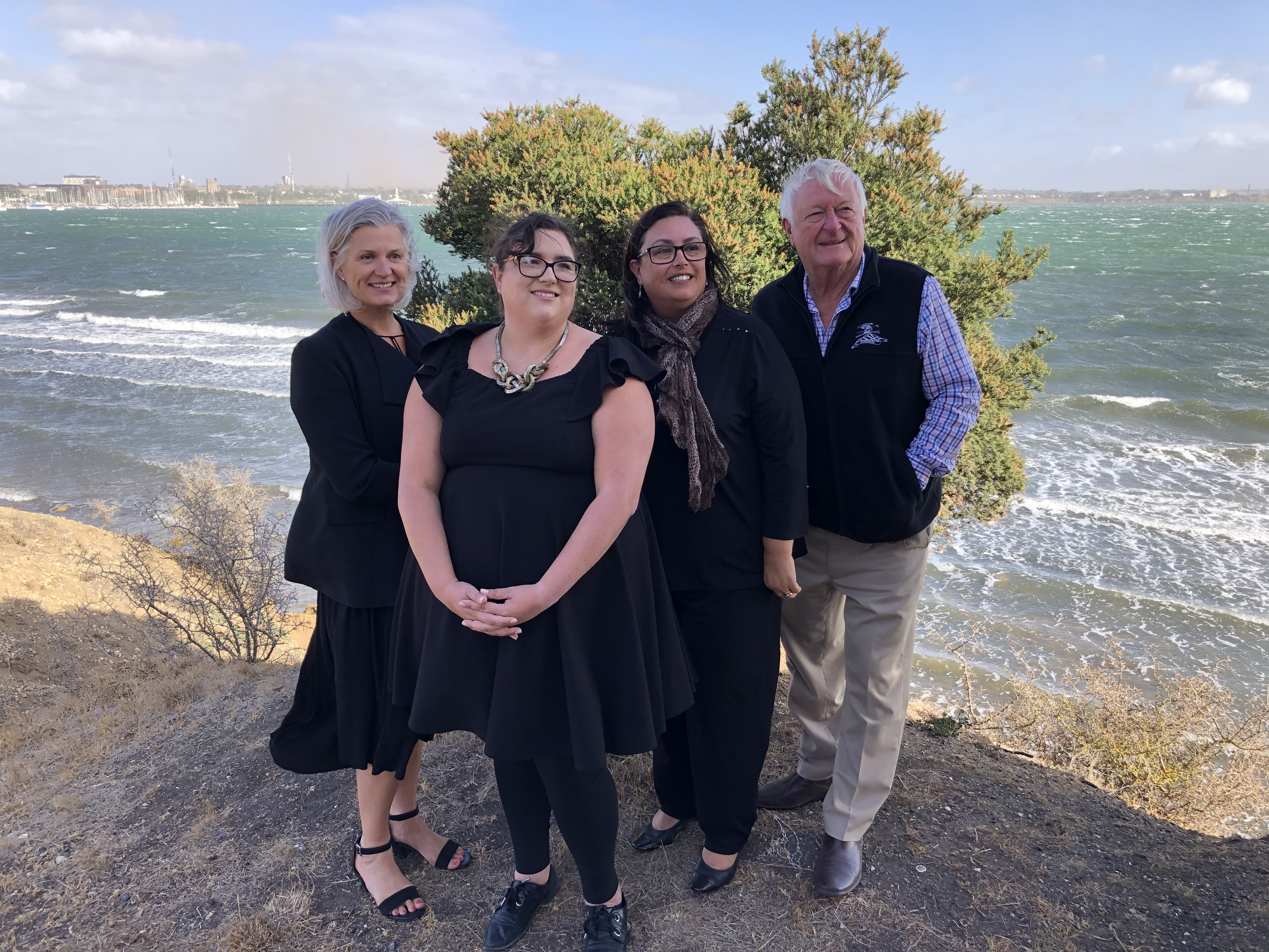 TAC's Megan Jacobs, TAC client Melinda Dine, Cr Kylie Grzybek and CrJim Mason from City of Greater Geelong at the location of a new road trauma memorial